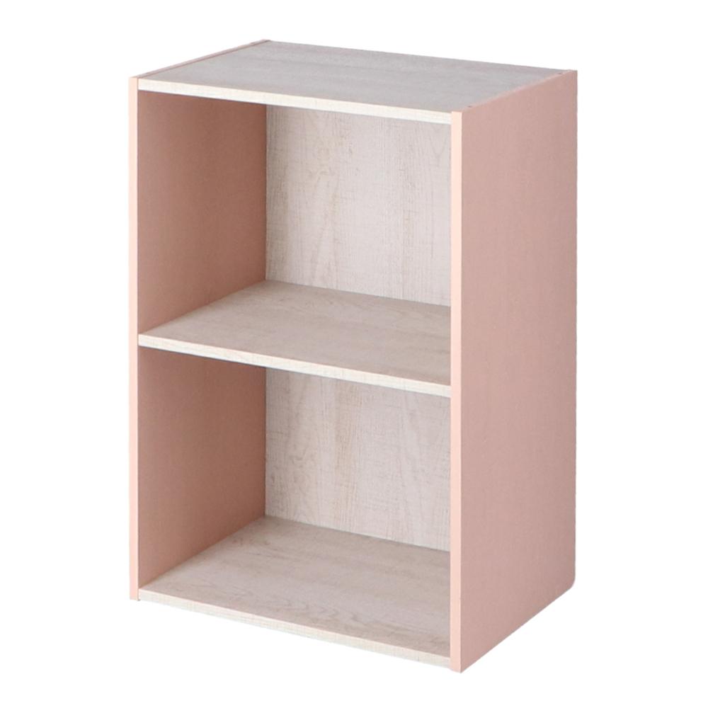 コーナン オリジナル 2段カラーボックス ウッド ホワイト+ピンク 約幅41.8X奥行29X高さ59.2cm