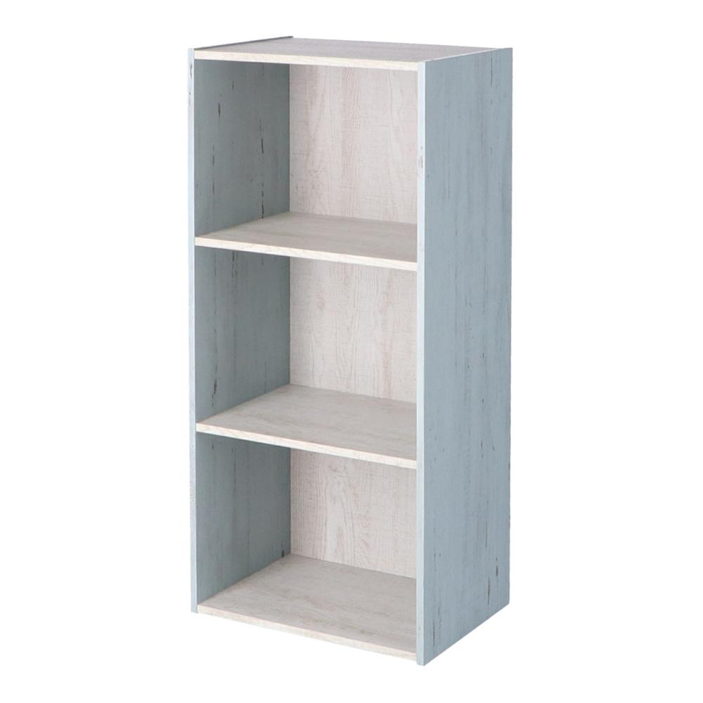 コーナン オリジナル 3段カラーボックス ウッド ホワイト+ブルー 約幅41.8X奥行29X高さ88cm
