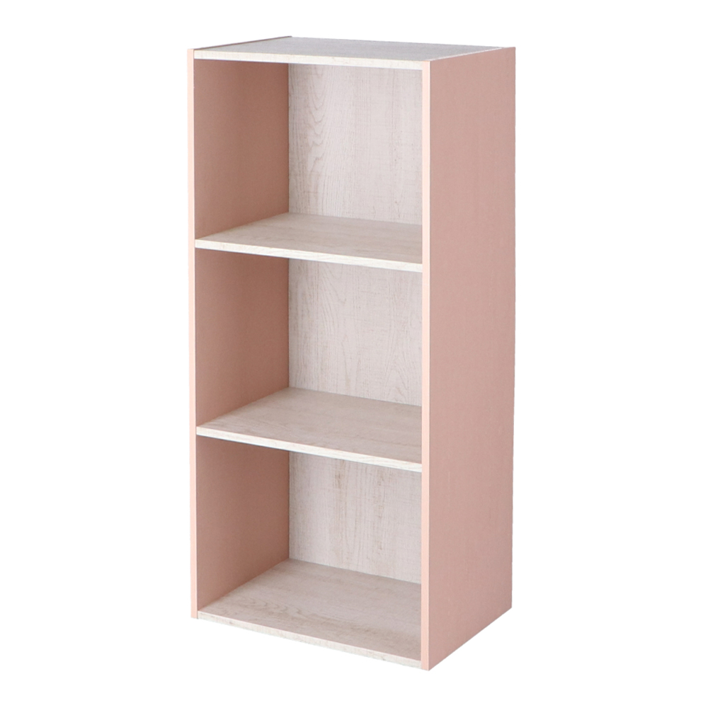 コーナン オリジナル 3段カラーボックス ウッド ホワイト+ピンク 約幅41.8X奥行29X高さ88cm