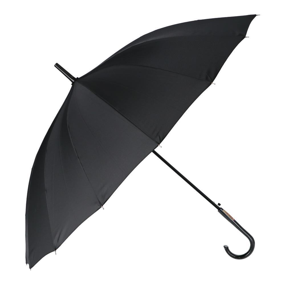 16本風に強い晴雨傘 UVカット加工 60cm BK