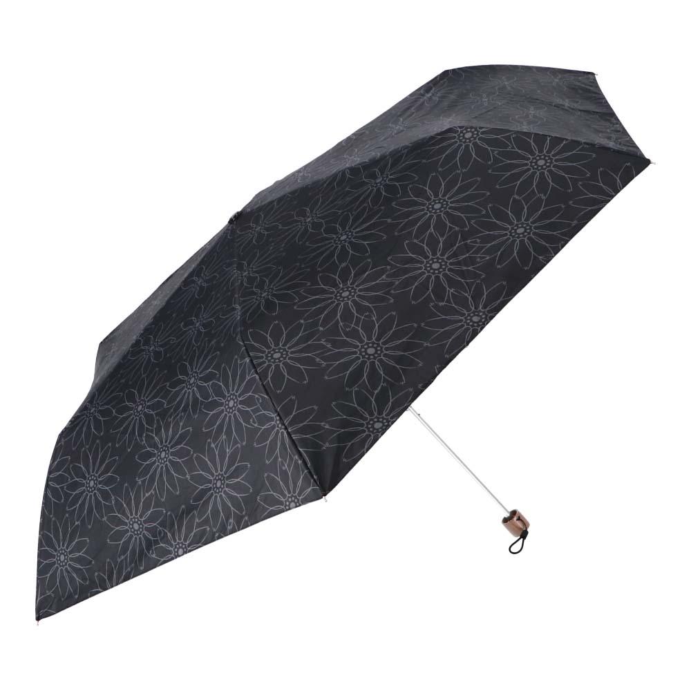 日傘にもなる婦人折傘 ブラックコーティング55cm BK