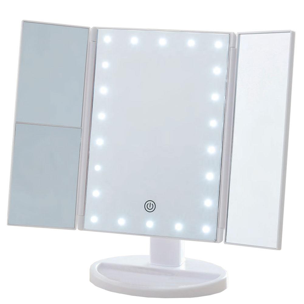 コーナン オリジナル LIFELEX 卓上3面LEDミラー拡大鏡付き WH