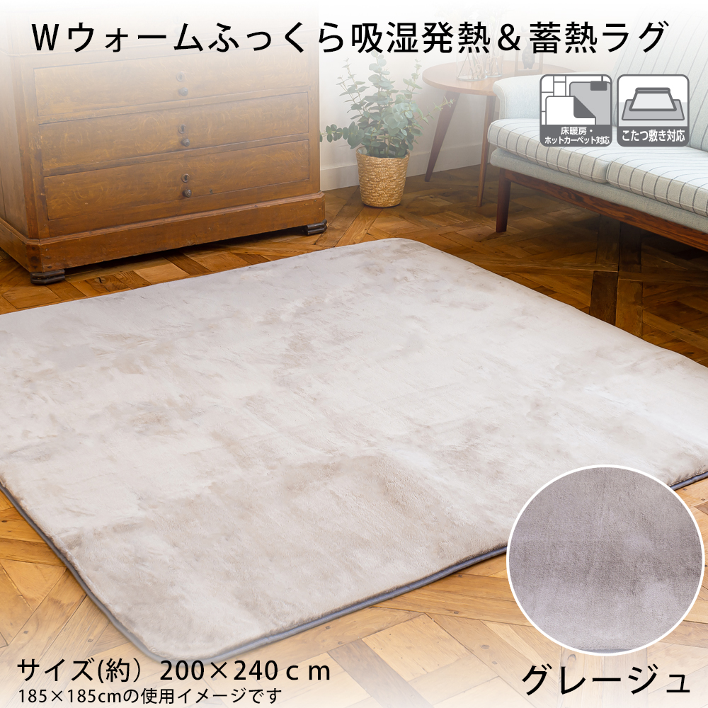 Wウォームふっくら吸湿発熱&蓄熱ラグ  約200×240cm グレージュ