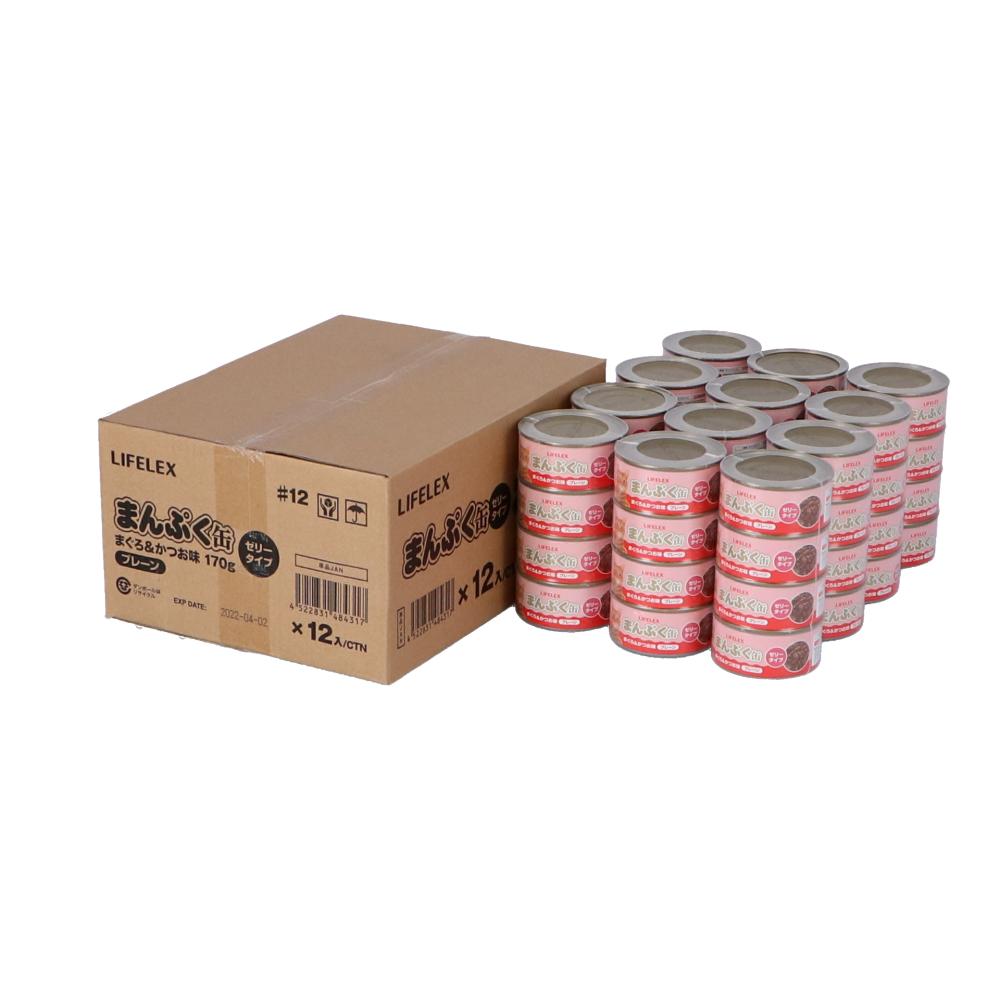 コーナン オリジナル まんぷく缶 まぐろ&かつお味 170g×4缶パック ×12個セット  ゼリータイプ