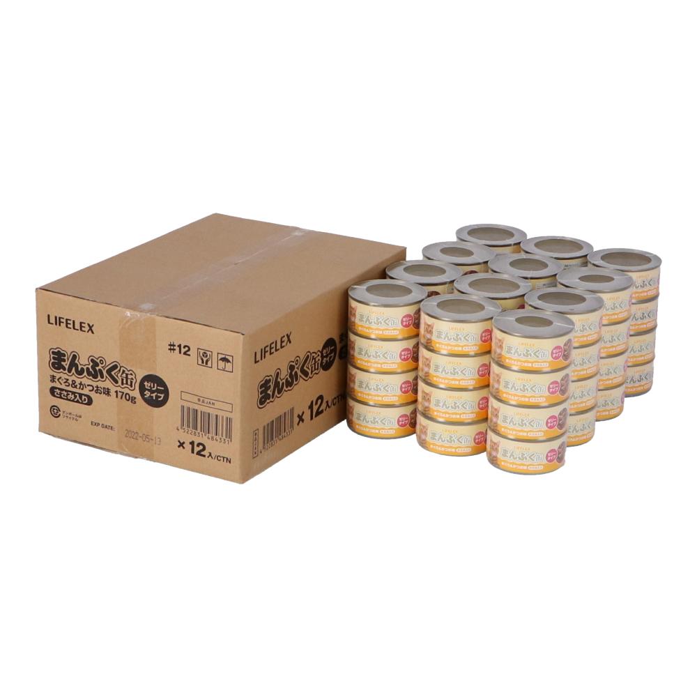 コーナン オリジナル まんぷく缶 まぐろ&かつお ささみ入り 170g×4缶パック ×12個セット  ゼリータイプ