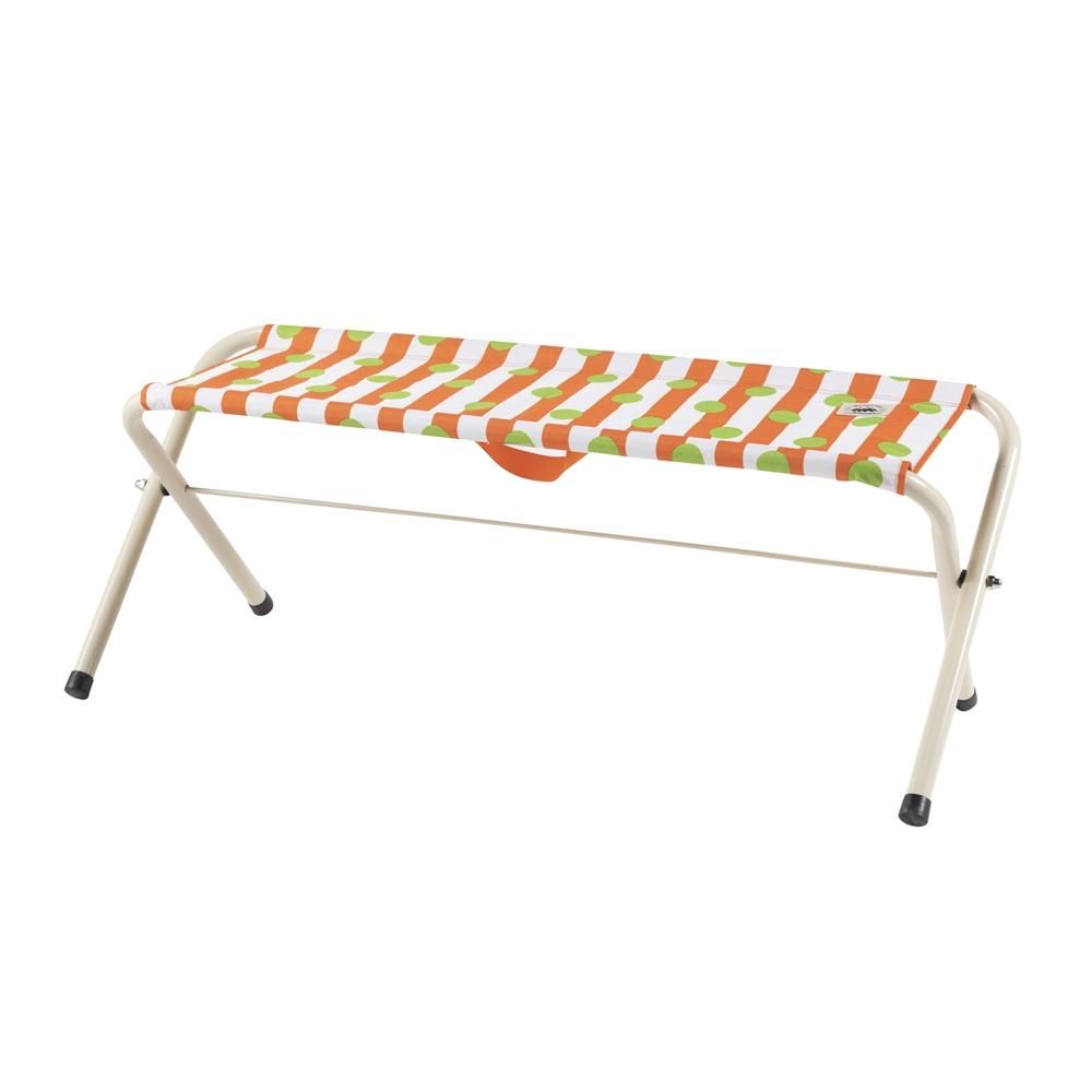 コーナン オリジナル 折畳式 スタンダード ベンチ  ドットオレンジ 幅100X奥行32X高さ39cm 耐荷重130kg