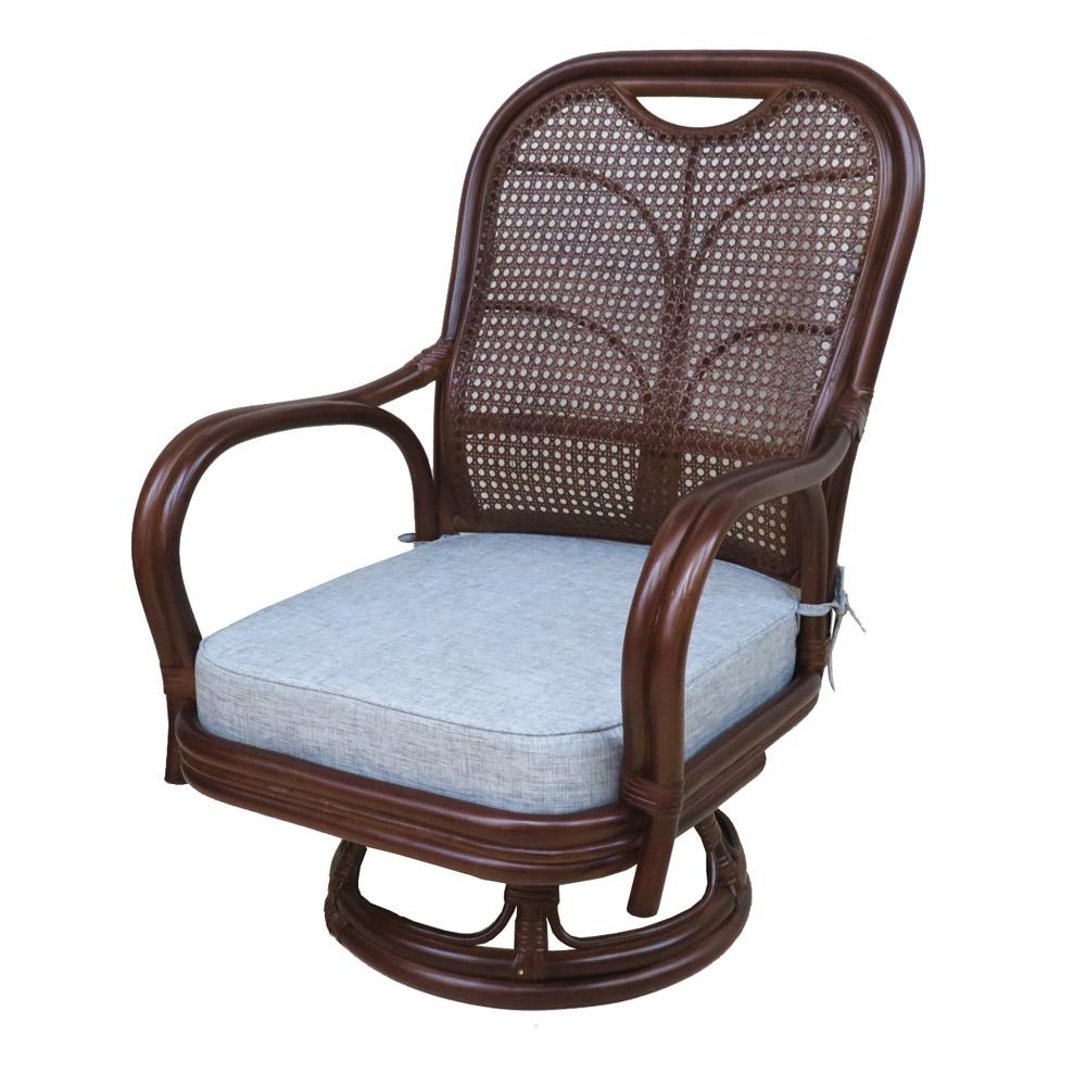 コーナン オリジナル 籐回転座椅子 中 ハイバック DBR