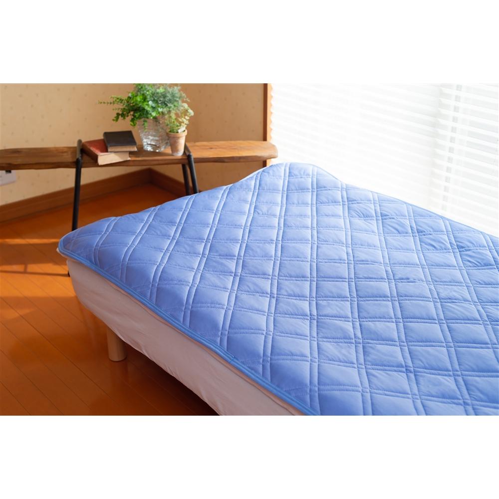 コーナン オリジナル 防ダニ冷感敷パッド 約140×205cm ブルー