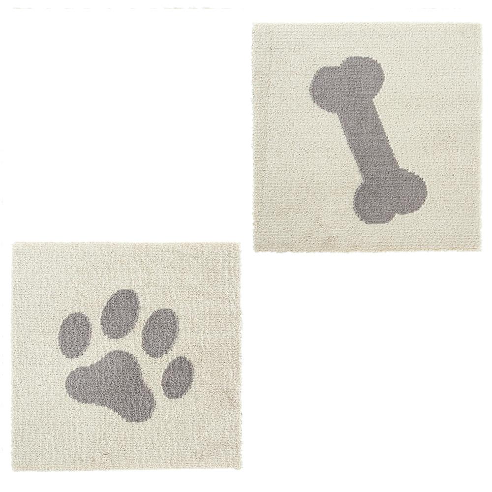 ペットマット タイルマット ピタペトモ 約45×45cm 2枚組 パウ柄&ボーン柄 ベージュ
