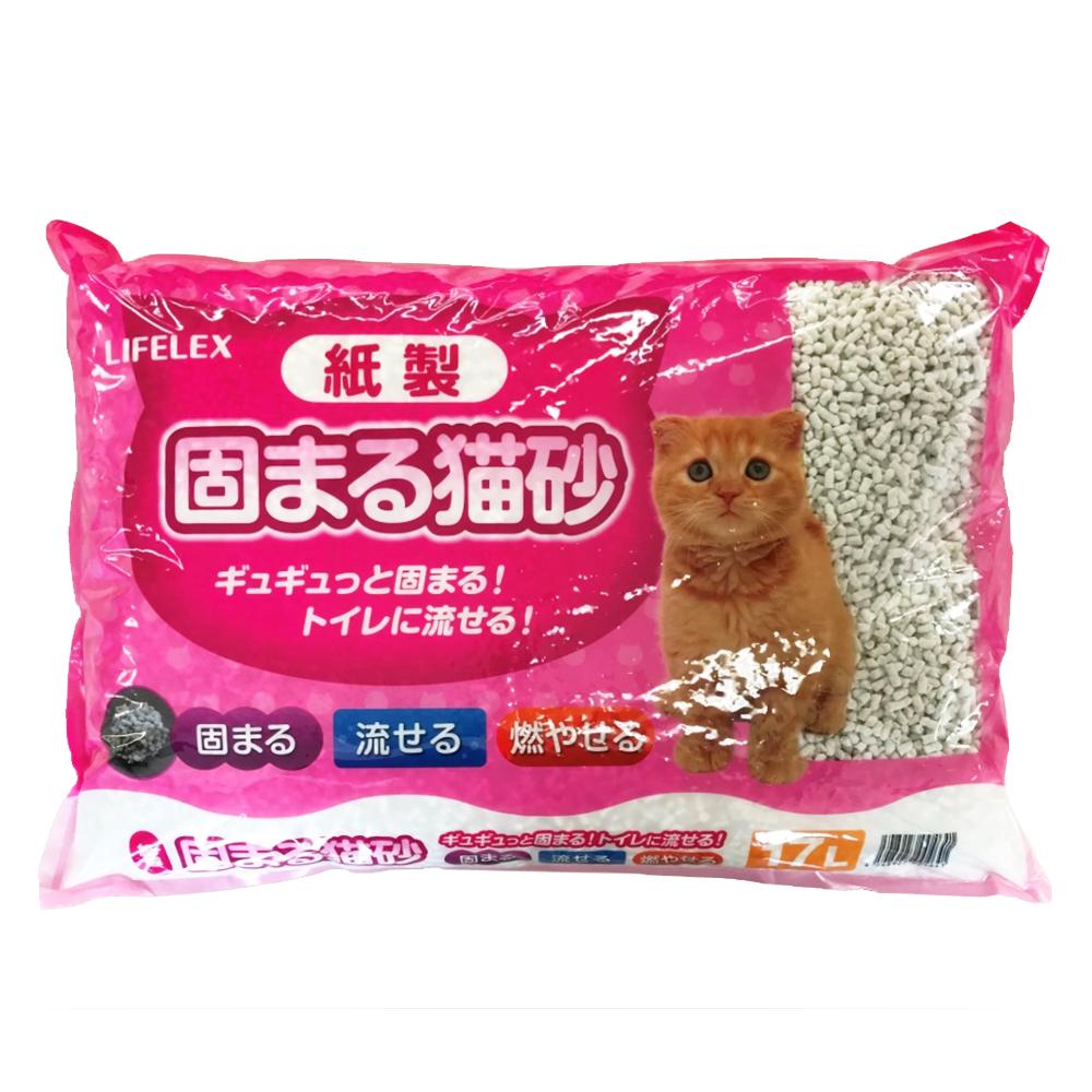 ライフレックス紙製 固まる猫砂ホワイト 17L