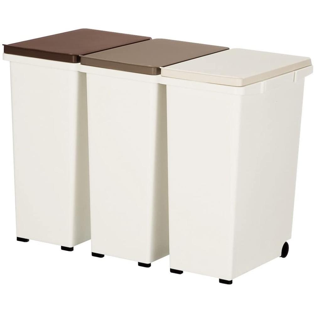 LIFELEX(ライフレックス) 分別・連結できる おしゃれなカラーふたのダストボックス 分別ゴミ箱 3個組(20Lタイプ)キャスター付き ブラウン