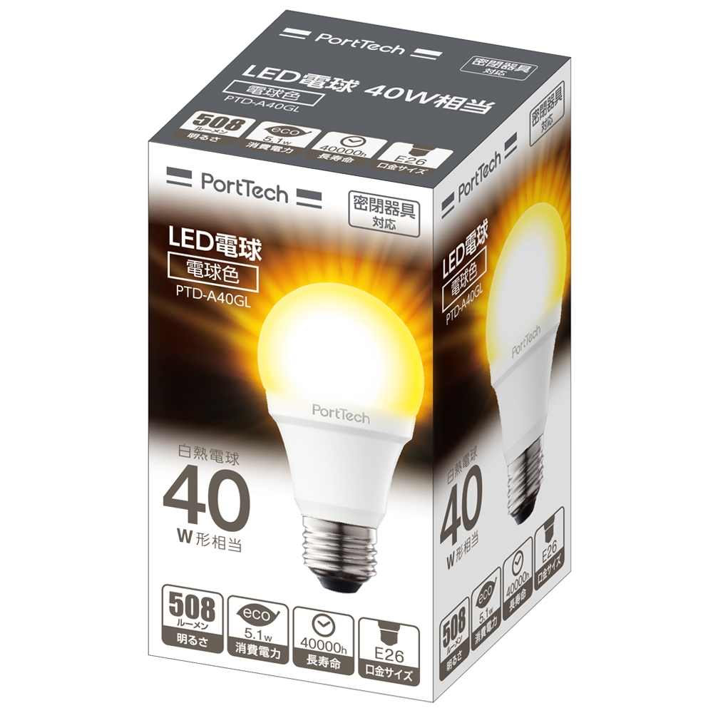 コーナン オリジナル PortTech  LED電球広配光40W相当 電球色 PTD−A40GL