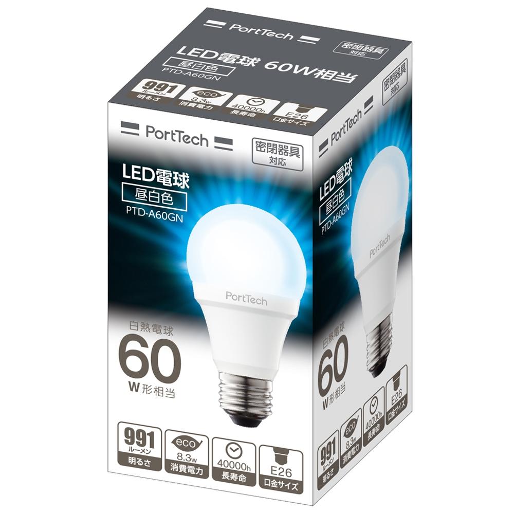 コーナン オリジナル PortTech  LED電球広配光60W相当 昼白色 PTD−A60GN