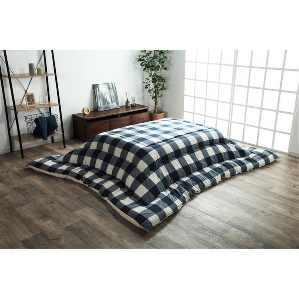 イケヒコ・コーポレーション(IKEHIKO) こたつ布団 長方形 インド綿 綿100% チェック柄 ネイビー 約205×245cm 「オーブ 掛」