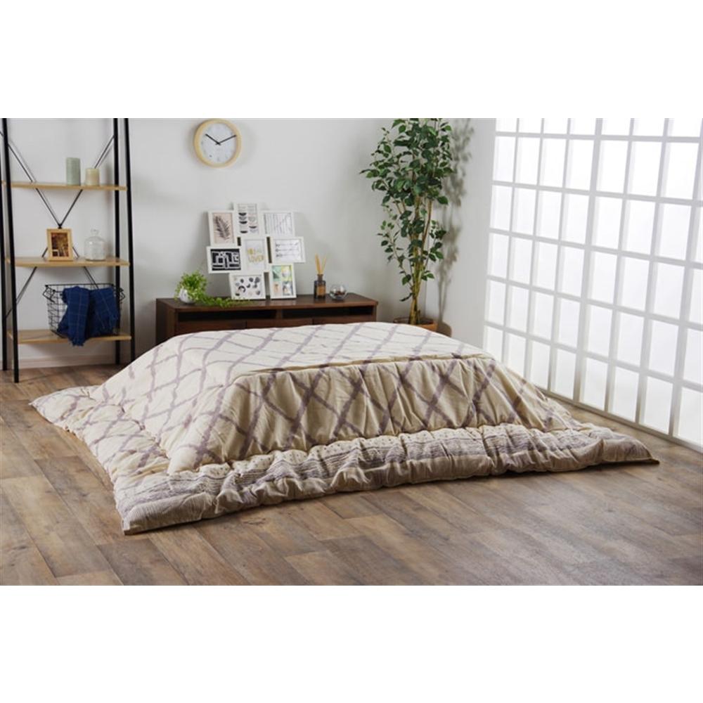 イケヒコ・コーポレーション(IKEHIKO) こたつ布団 長方形 インド綿 綿100% グレー  約190×240cm 「ラポール 掛」