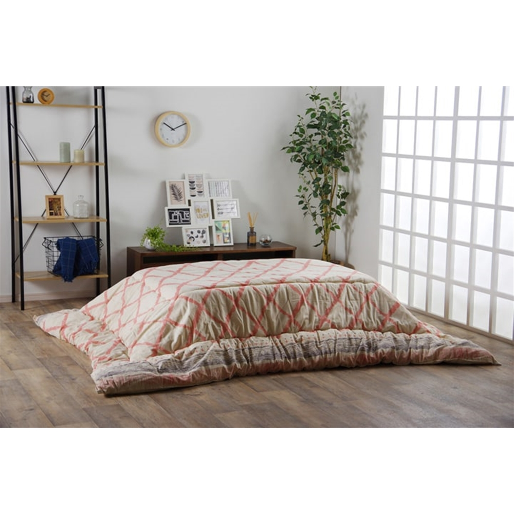 イケヒコ・コーポレーション(IKEHIKO) こたつ布団 長方形 インド綿 綿100% ピンク  約190×240cm 「ラポール 掛」