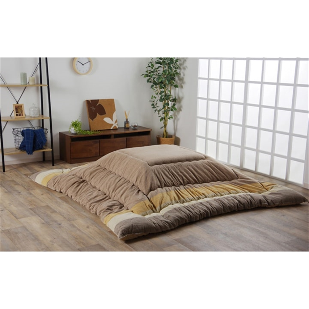 イケヒコ・コーポレーション(IKEHIKO) こたつ布団 長方形 インド綿 綿100% ブラウン  約205×245cm 「ロイド 掛」