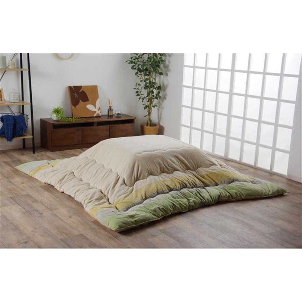 イケヒコ・コーポレーション(IKEHIKO) こたつ布団 長方形大 インド綿 綿100% グリーン  約205×285cm 「ロイド 掛」