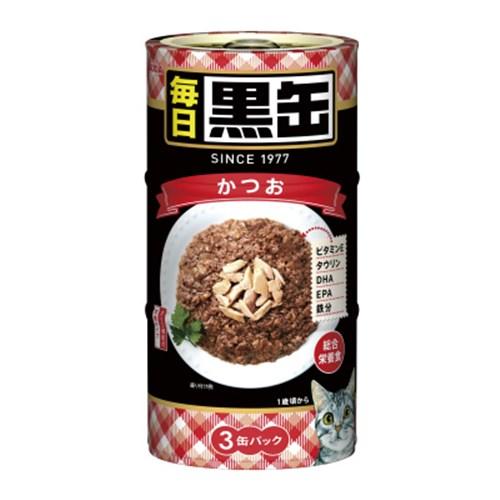 ☆ 黒缶(MAINICHI)3P かつお 猫 ウェット 缶詰