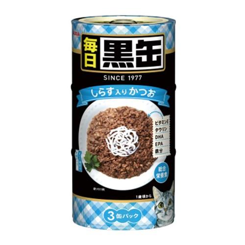 ☆ 黒缶(MAINICHI)3P しらす入りかつお 猫 ウェット 缶詰
