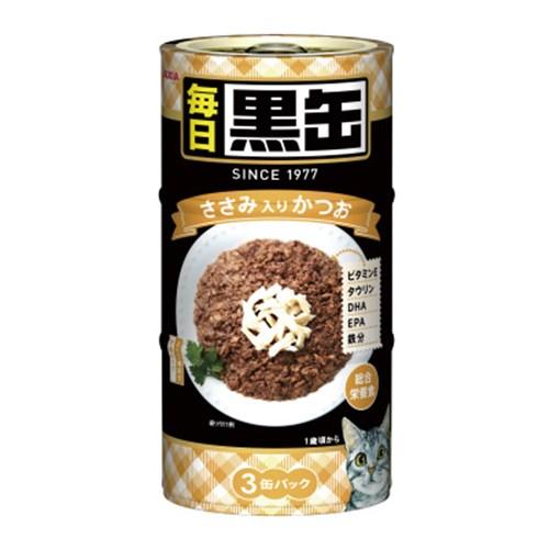 ☆ 黒缶(MAINICHI)3P ささみ入りかつお 猫 ウェット 缶詰
