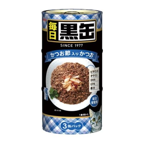 ☆ 黒缶(MAINICHI)3P かつお節入りかつお 猫 ウェット 缶詰