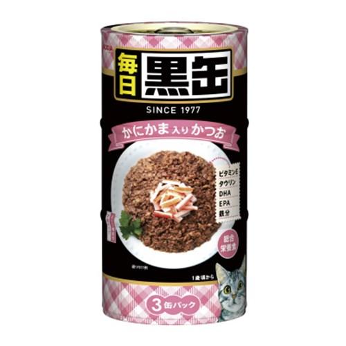 ☆ 黒缶(MAINICHI)3P かにかま入りかつお 猫 ウェット 缶詰