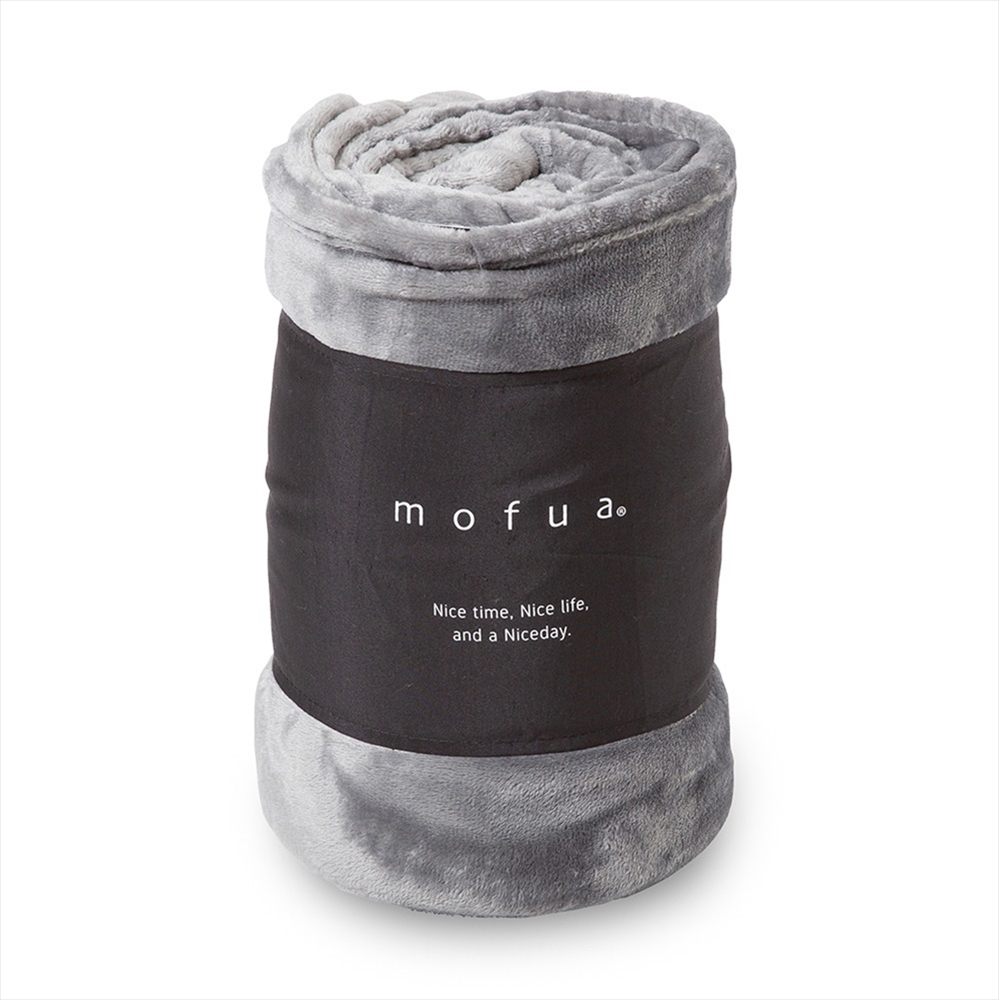 ☆ mofua プレミアムマイクロファイバー毛布 シングル グレー 50000113-S-GRY