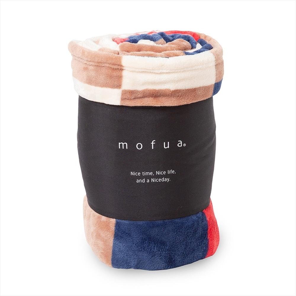 mofua プレミアムマイクロファイバー毛布 チェック柄 シングル レッド 500001C8-S-RED