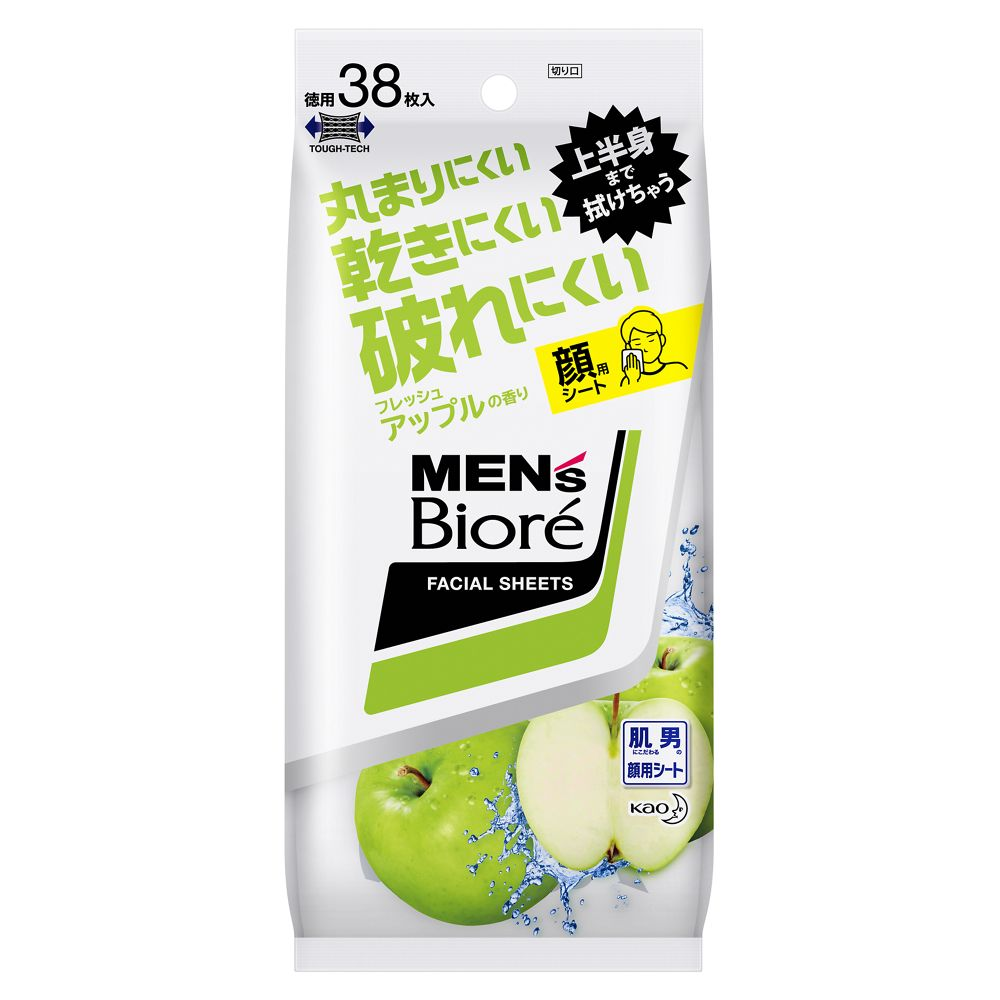 花王 メンズビオレ 洗顔シート フレッシュアップルの香り [38枚入(卓上用)]