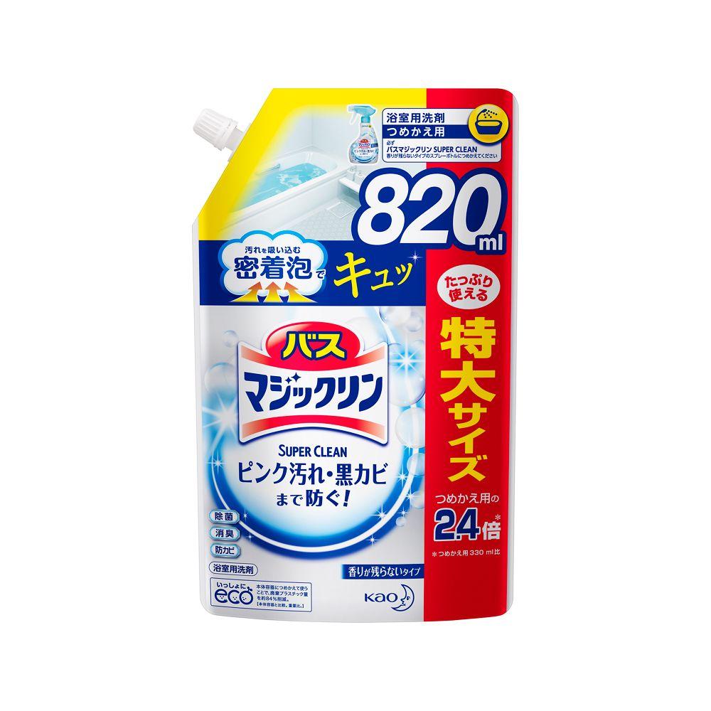 花王 バスマジックリン 泡立ちスプレー SUPER CLEAN 香りが残らないタイプ [つめかえ用820ml]