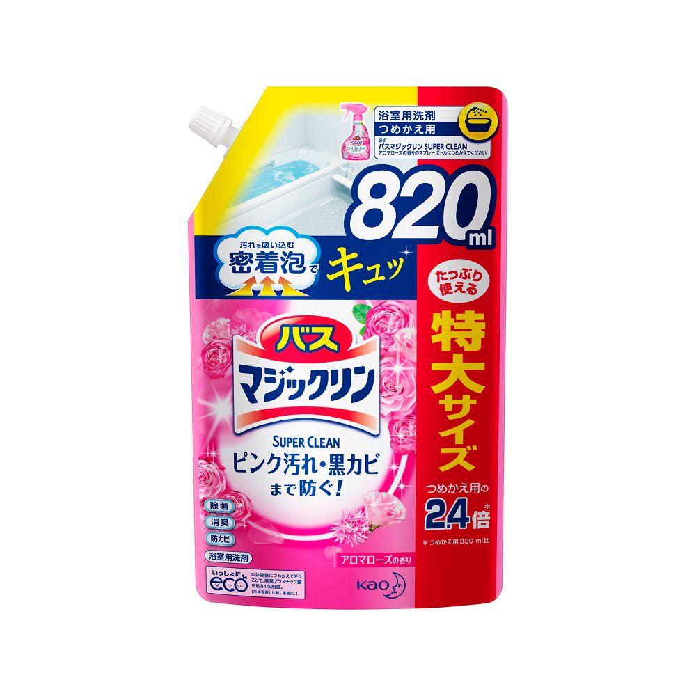 花王 バスマジックリン 泡立ちスプレー SUPER CLEAN アロマローズの香り [つめかえ用820ml]