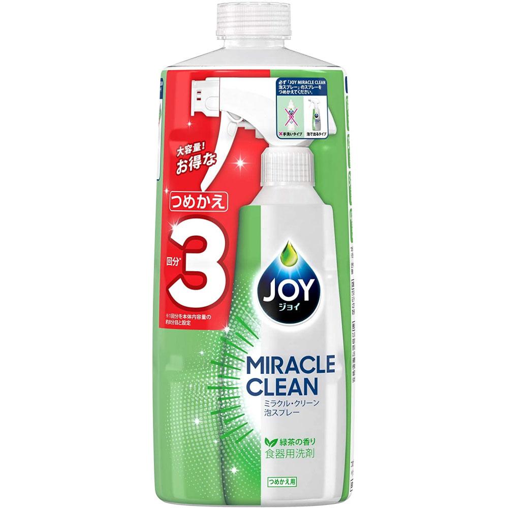 P&G ジョイ ミラクルクリーン 泡スプレー 食器用洗剤 緑茶の香り 詰め替え 3回分 690ml
