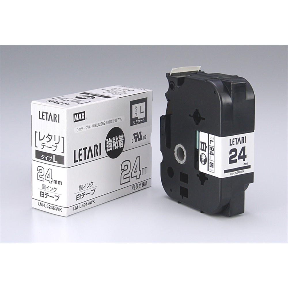 マックス ビーポップミニ/レタリテープ LM-L524BWK(24mm 黒字・白)