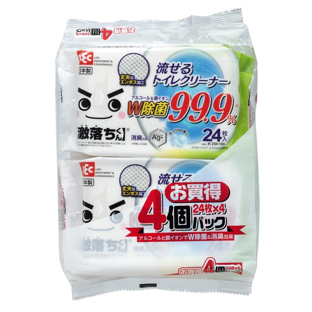 激落ちくん 流せる除菌トイレクリーナー24枚×4