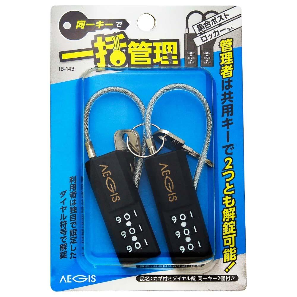 カギ付ダイヤル錠 同一キー 2個入 IB-143