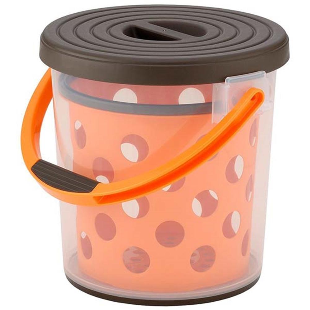 イノマタ化学 多目的バケツ スプラッシュ10 10L インナーバケツ付 ブラウン&オレンジ