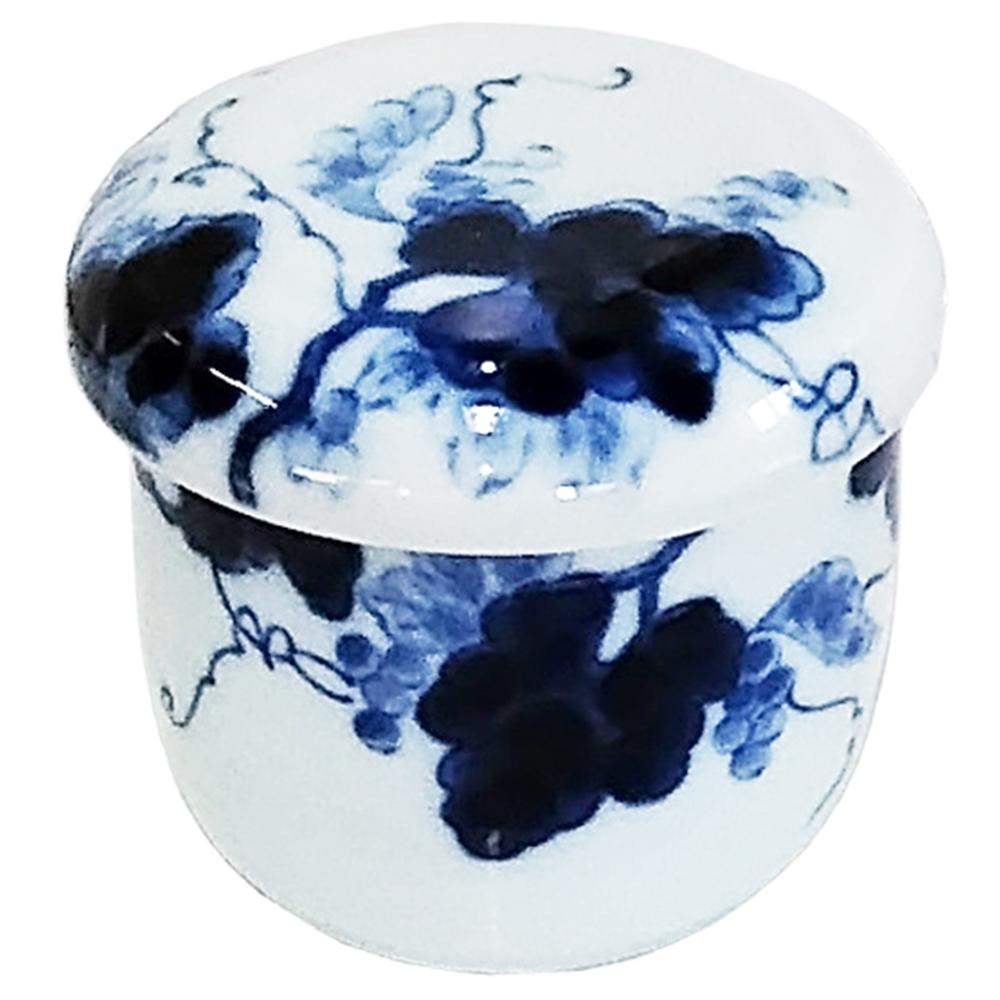 肥山陶苑 むし碗 藍染ぶどう