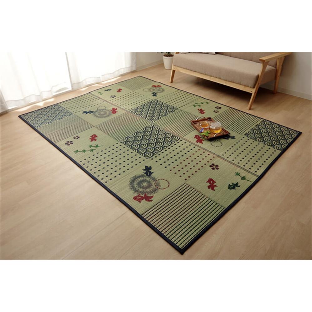 イケヒコ・コーポレーション(IKEHIKO)  い草ラグ ラグ カーペット 2畳 正方形 和柄 風物詩『CX金魚』 約176×176cm (中身:ウレタン)