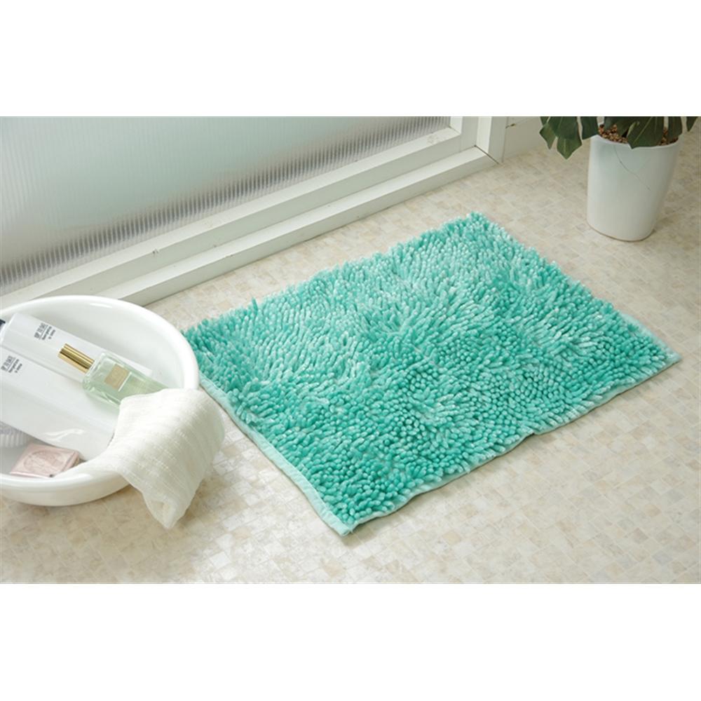 イケヒコ・コーポレーション(IKEHIKO) バスマット 洗える 吸水 速乾 無地 ブルー 2枚組 約50×75cm 「吸水速乾ミスト バスマット2P」