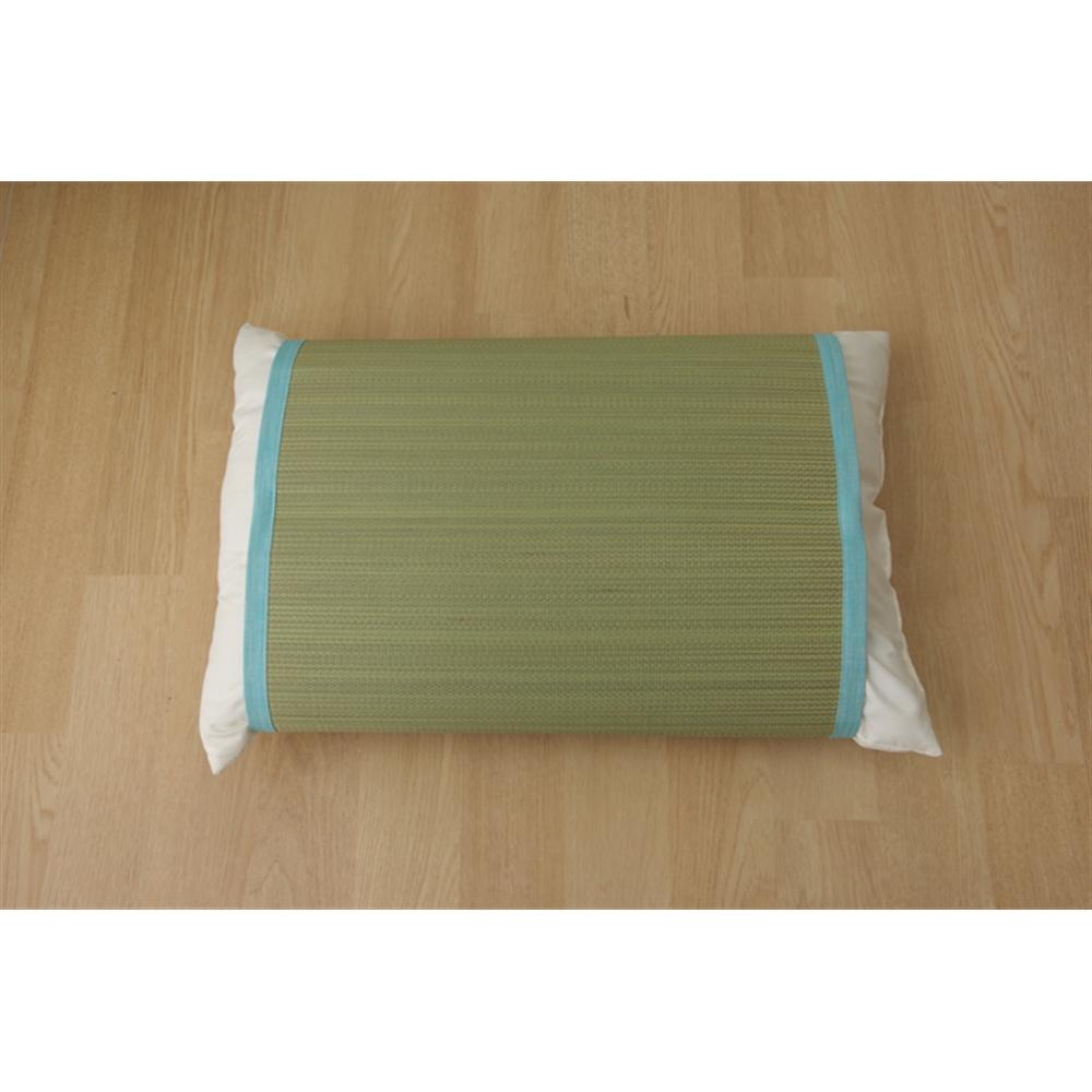 イケヒコ・コーポレーション(IKEHIKO)  枕パッド 国産い草使用 『無地 枕パッド やわらかめ』ブルー 約40×53cm