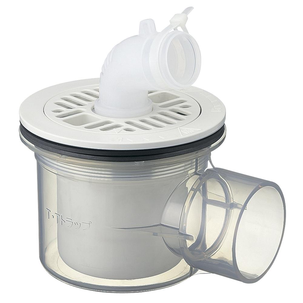 SANEI 【洗濯機排水トラップ】 横引き用 透明 H5551C-50