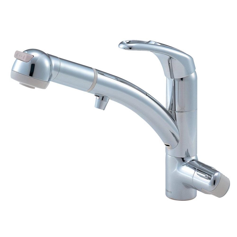 三栄水栓(SANーEI) キッチン用 シングルワンホールスプレー混合栓(浄水器兼用)  K8761TJV-13#C