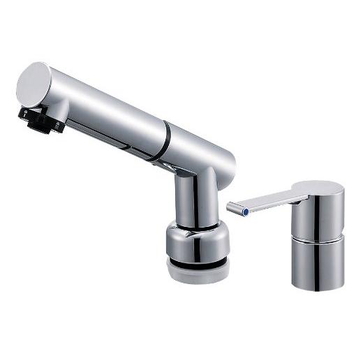 SANEI 【洗面所用混合栓】 シングルスプレー混合栓 洗髪用 引き出しホースの長さ1.2M