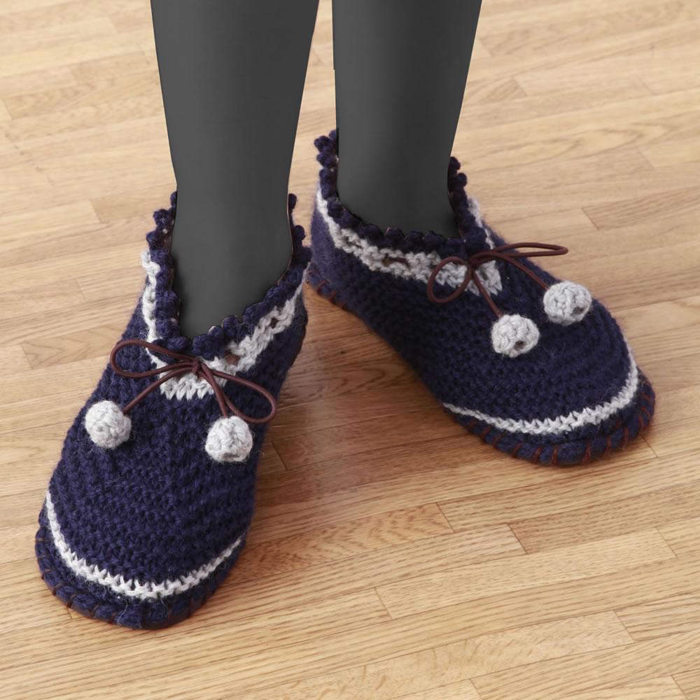 すべりにくい手編みルームシューズネイビーM 0218980