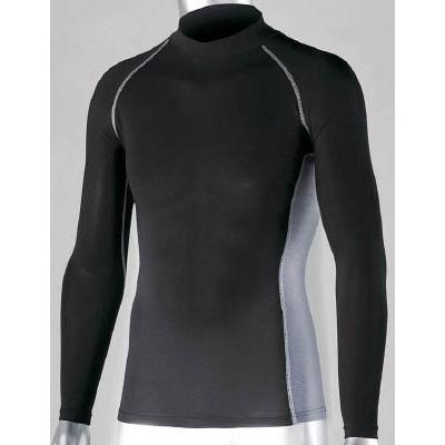 おたふく 冷感 消臭 パワーストレッチ長袖ハイネックシャツ ブラック L JW625BKL