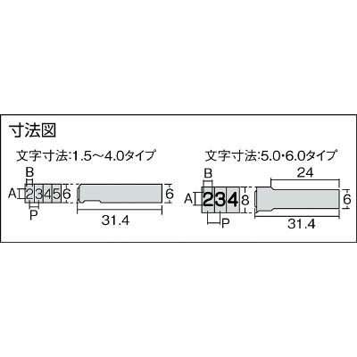 浦谷 ハイス組合せ刻印4.0mmバラ 数字6 UC40B6