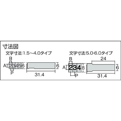 浦谷 ハイス組合せ刻印5.0mmバラ 英字F UC50BF