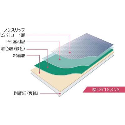 タカハラ ビバフィルム(超耐久歩行帯) 500mm×5m グリーン ノンスリップ TN188NSGS5