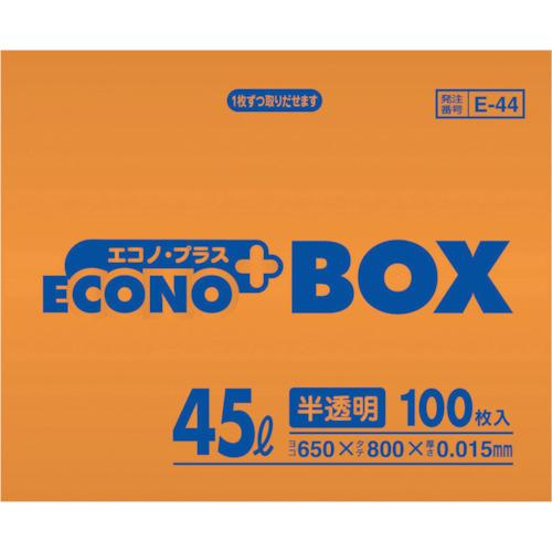 サニパック E−44エコノプラスBOX45L半透明 100枚 E-44-HCL